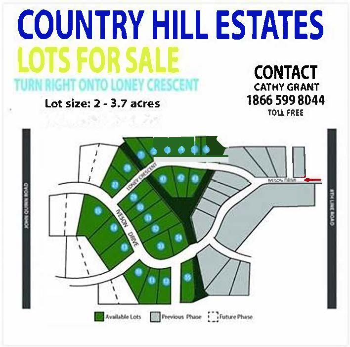 Map of the Country Hill Estates with price $145,000 plus HST