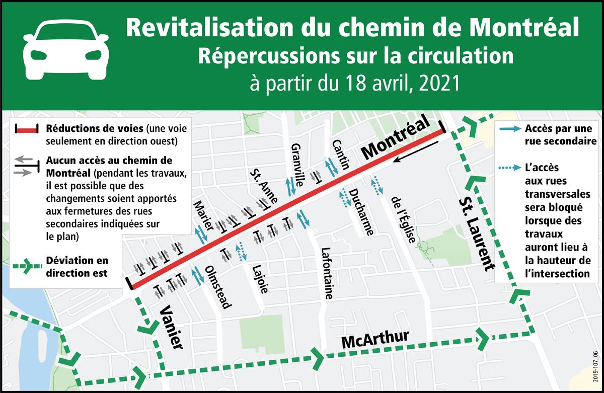 l'itinéraire de la déviation et les routes transversales qui seront fermées.