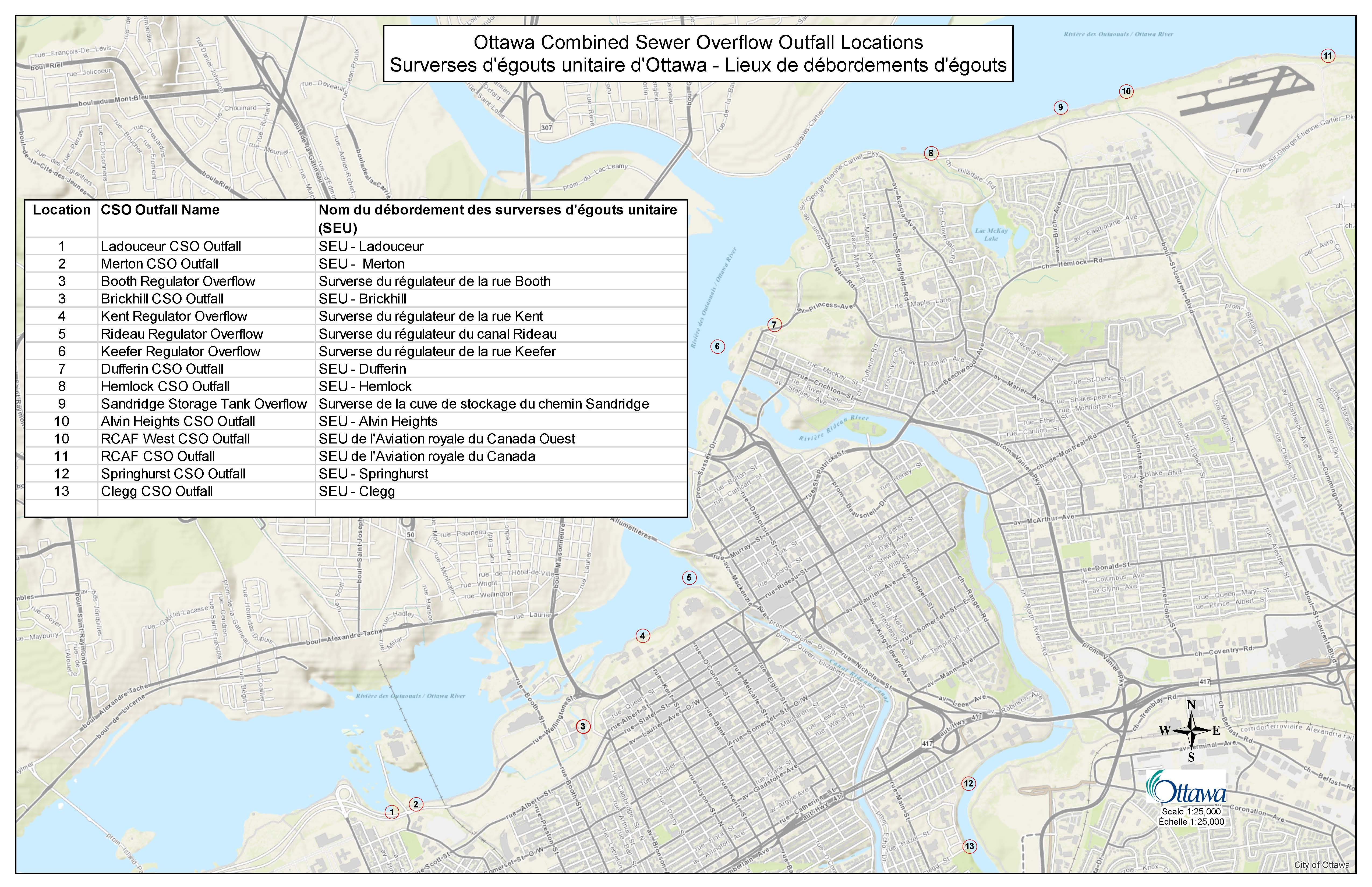 Map of Ottawa combined sewer overflow outfall locations