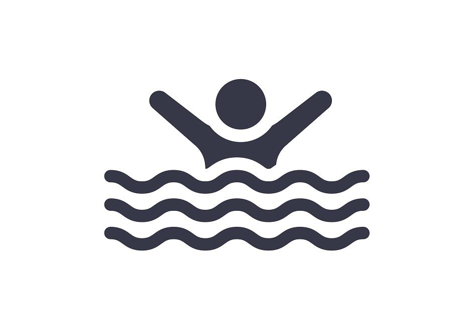 Dessin d'une personne dans l'eau avec les bras en l'air