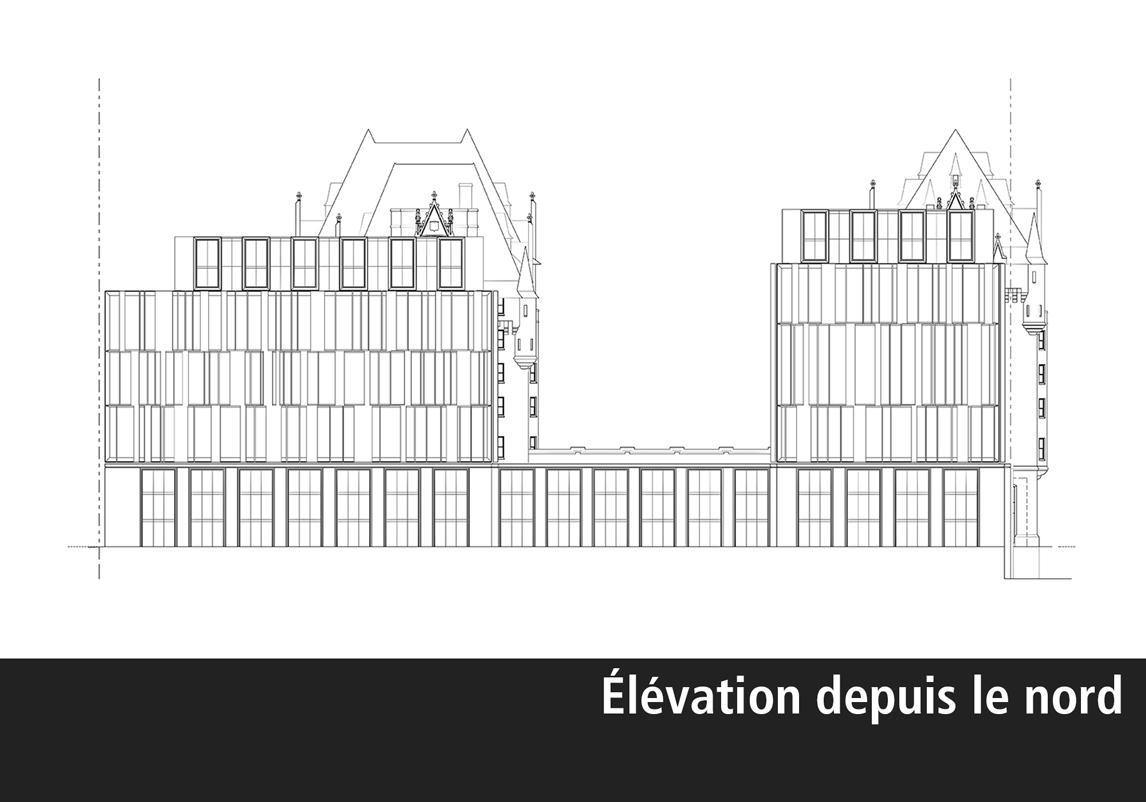 Élévation architecturale de l'agrandissement de l'hôtel Château Laurier vu du parc Major's Hill