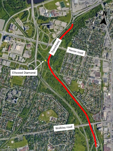 A map of the southeast Transitway closure between Billings Bridge and Walkley