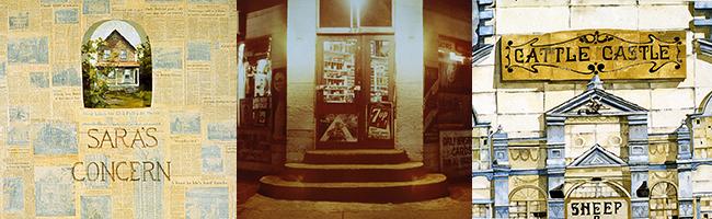 Trois images d'œuvres d'art en tons sépia, tirées de cette exposition, placées côte à côte : un collage, une photo d'escaliers, un tableau représentant un bâtiment à Lansdowne.