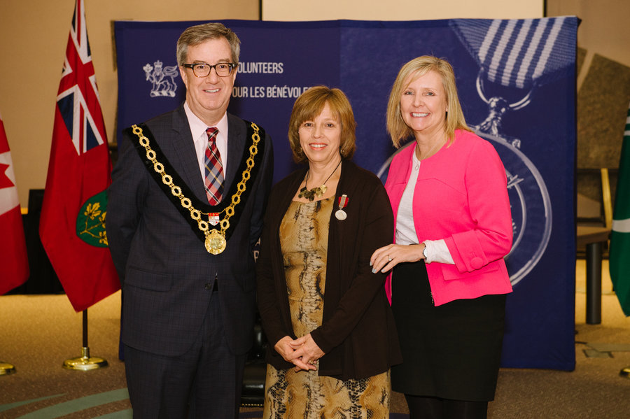 Nancy Ferguson with Mayor Watson and Councillor Deans