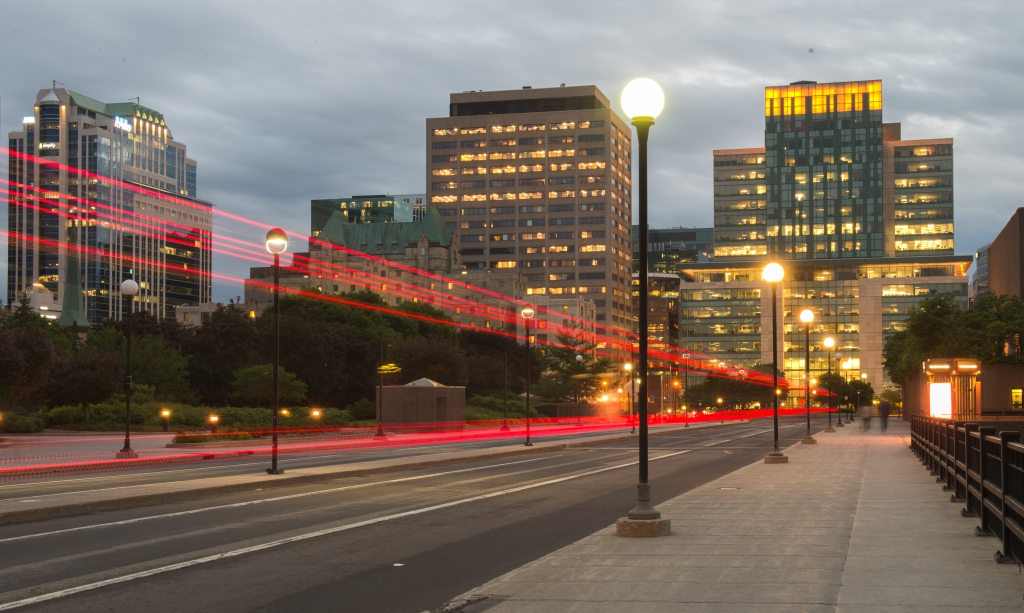 View of business district from Mackenzie King Bridge.