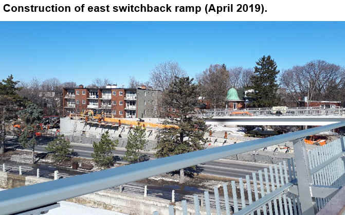 Construction of east switchback ramp (April 2019).