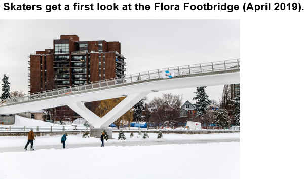 Skaters get a first look at the Flora Footbridge (April 2019).