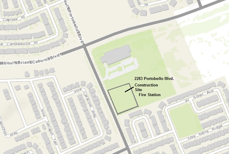 The location plan showing the proposed site at 2283 Portobello Boulevard.
