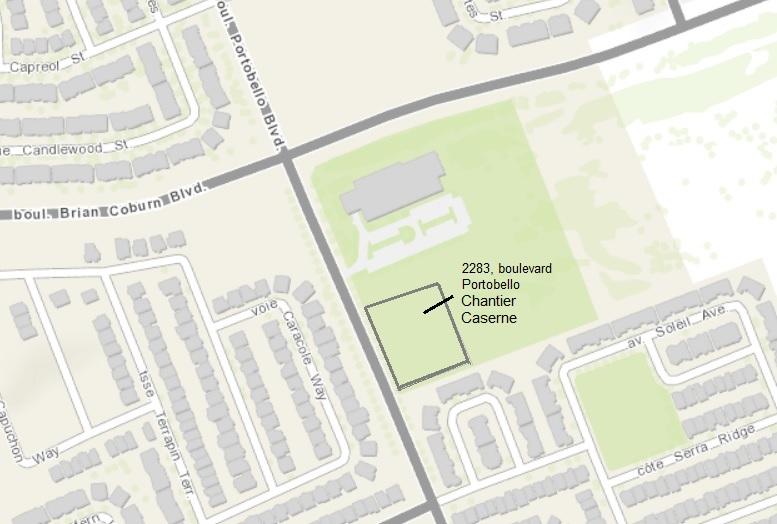 Plan de situation illustrant l'emplacement proposé du projet, au 2283, boulevard Portobello.