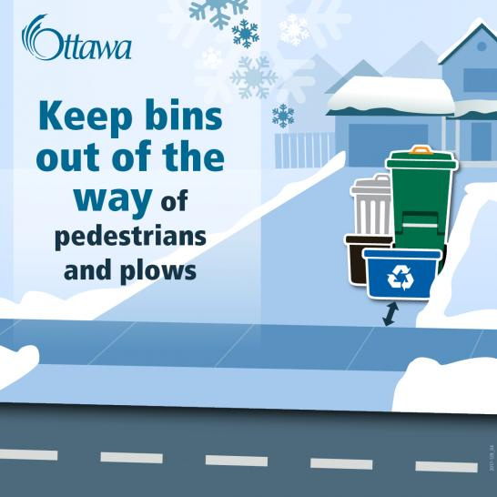 Keep bins out of the way of pedestrians and plows