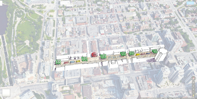 Drawing of George Street with a wide, linear public space along the north side.