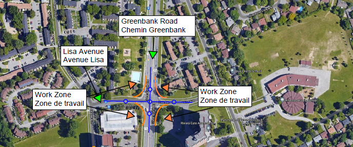 Map depicting work zone at the Greenbank Road and Lisa Avenue intersection