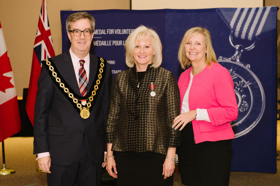 Barbara Hayduk with Mayor Watson and Councillor Deans