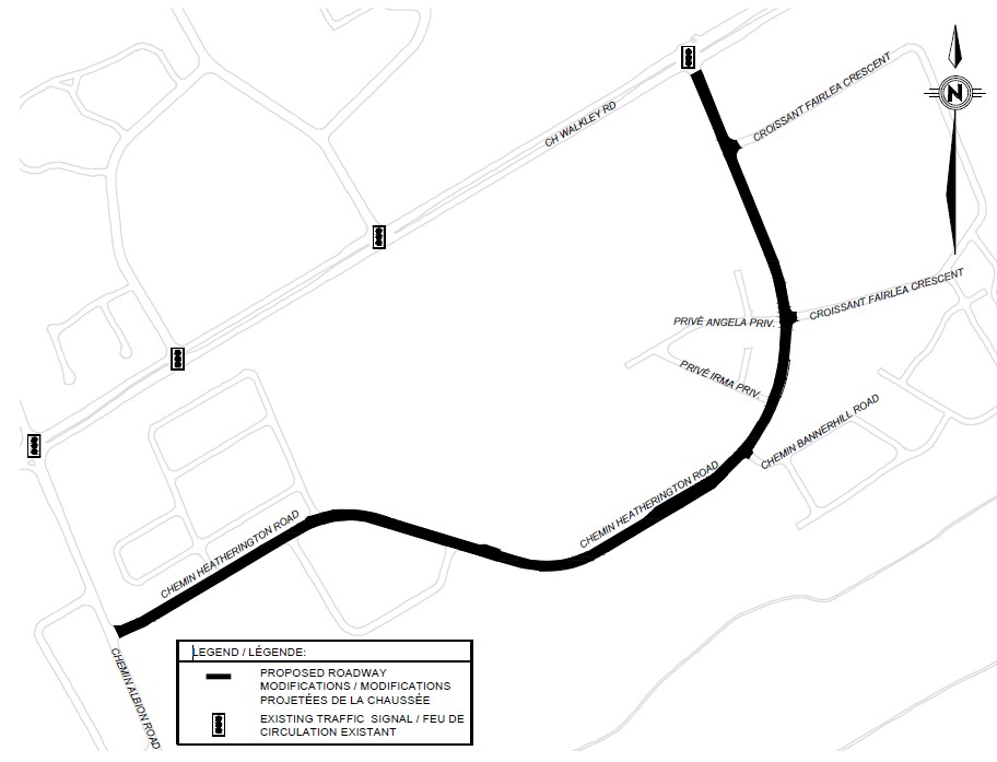 An illustration of streets within the project limits for the Heatherington Road Construction Project.