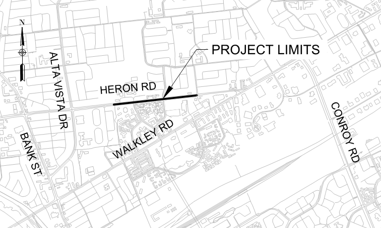 Key plan showing the project limits on Heron Road from the Colbert Crescent Multi-Use Pathway to Jefferson Street