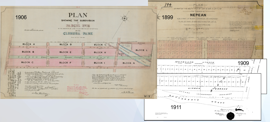 Historic Registered Plans for Clemora Park, Monkland Avenue and Linden Terrace.
