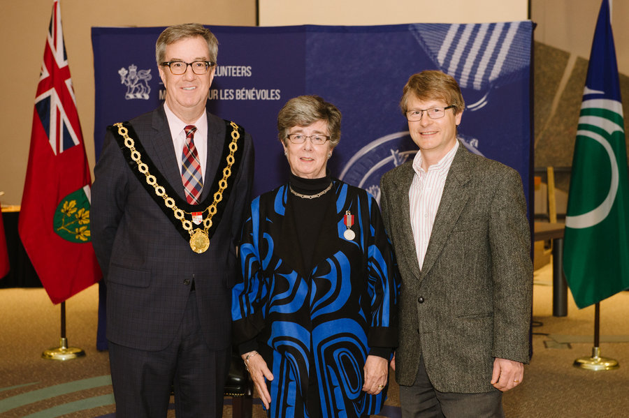 Susan Johnson with Mayor Watson and Councillor Chernushenko