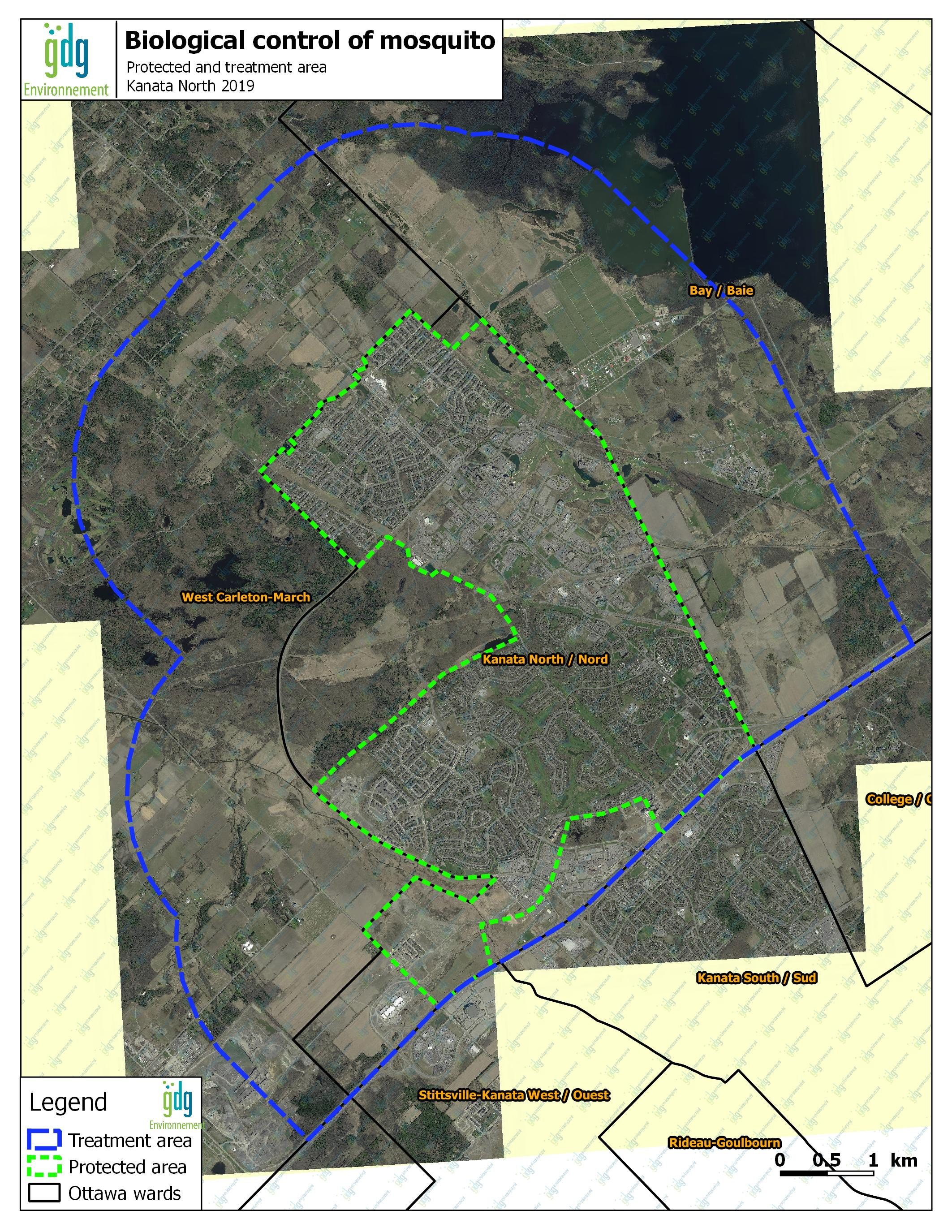 Map indicating the treatment area and protected area for biological control of mosquito.