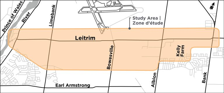 A figure depicting the study area limits that extend from River Road to Bank Street and partly broaden to the south to allow for realignment
