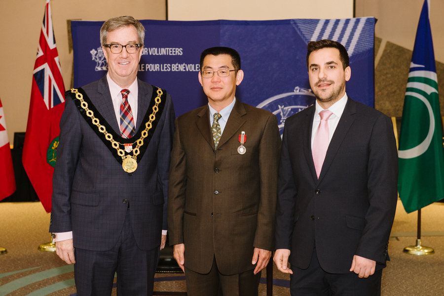 Patrick Lin with Mayor Watson and Councillor Qaqish