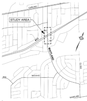 The project limits extend for approximately 325 m on Maitland Avenue both north and south of the Highway 417 interchange.