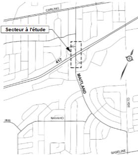 Les limites du projet couvrent environ 325 m de l'avenue Maitland, au nord et au sud de l'échangeur de l'autoroute 417.