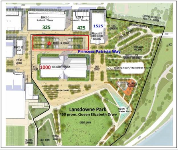 An illustrated map of the east side of Lansdowne Park, highlighting Aberdeen Square. Aberdeen Square is located north of the Aberdeen Pavilion and south of the movie theatre and restaurant location at Lansdowne Park.
