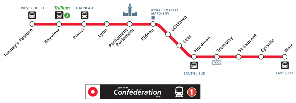 Carte des stations du train léger rapide
