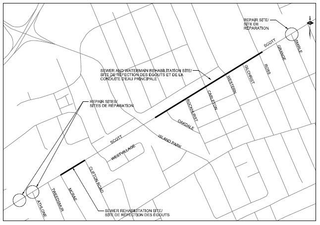Repair sites at Smirle Avenue, Athlone Avenue and west of Athlone Avenue, the sanitary sewer replacement site between McRae Avenue and Clifton Road and the sanitary sewer and watermain replacement site from Island Park Drive to Ross Avenue.