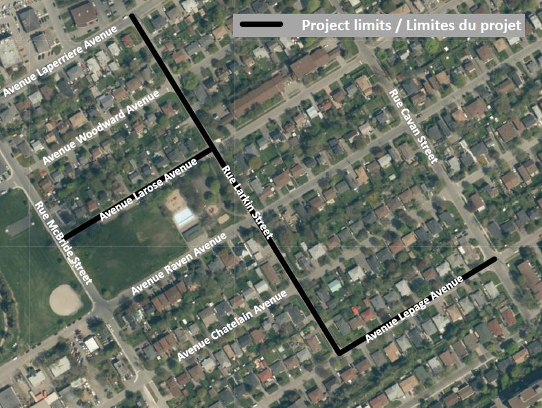 This is an image of a key map showing the project limits, including Larkin Street, Larose Avenue between McBride and Larkin Streets, and Lepage Avenue between Larkin and Cavan Streets.