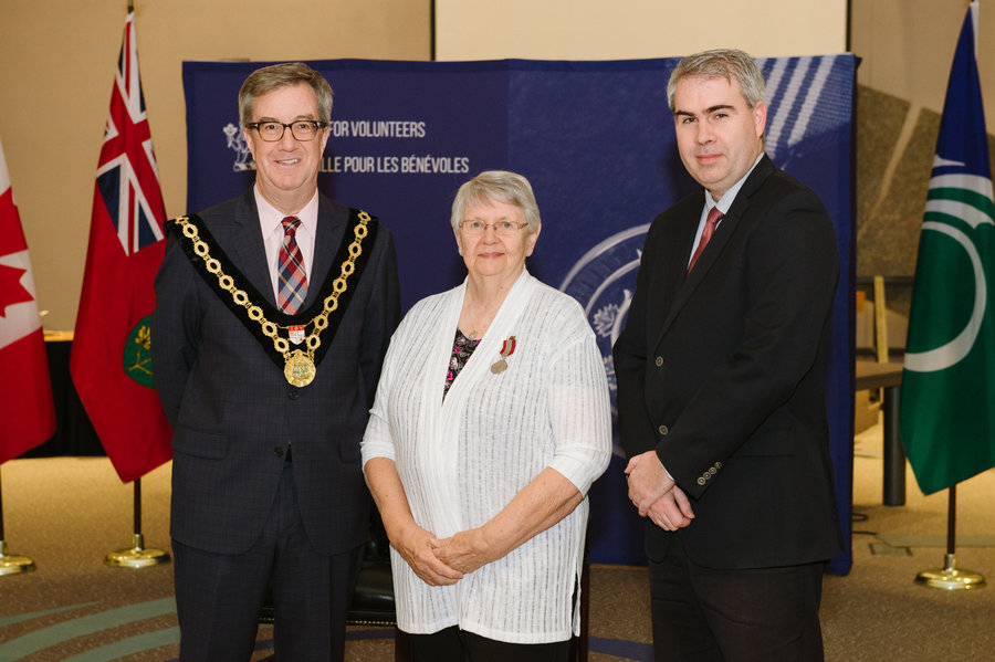 Wanda Molnar with Mayor Watson and Councillor Brockington