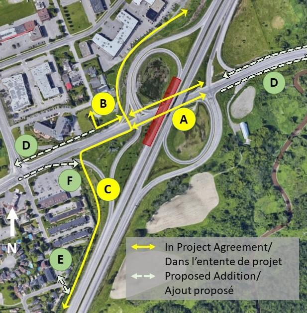 Carte du secteur de la station Chemin de Montréal représentant les améliorations que l'on propose d'apporter à la connectivité