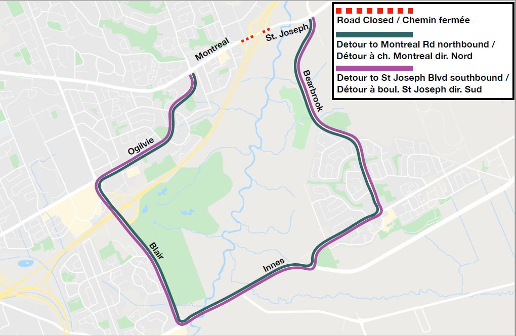 Image showing detour route on Bearbrook, Innes, Blair and Ogilvie roads