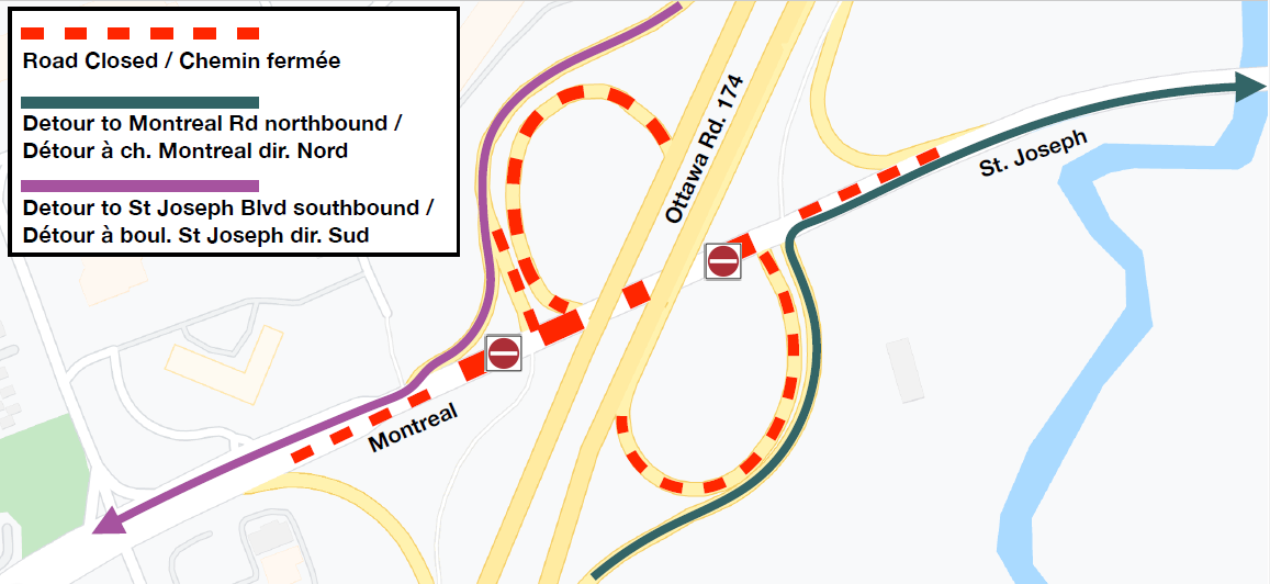 Image showing detour route from OR174 off ramps