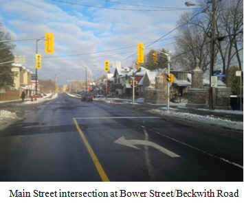 A photo of the Main Street intersection at Bower Street/Beckwith Road.