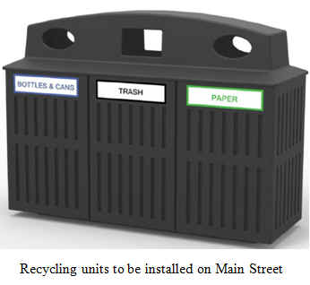 The recycling units to be installed on Main Street.