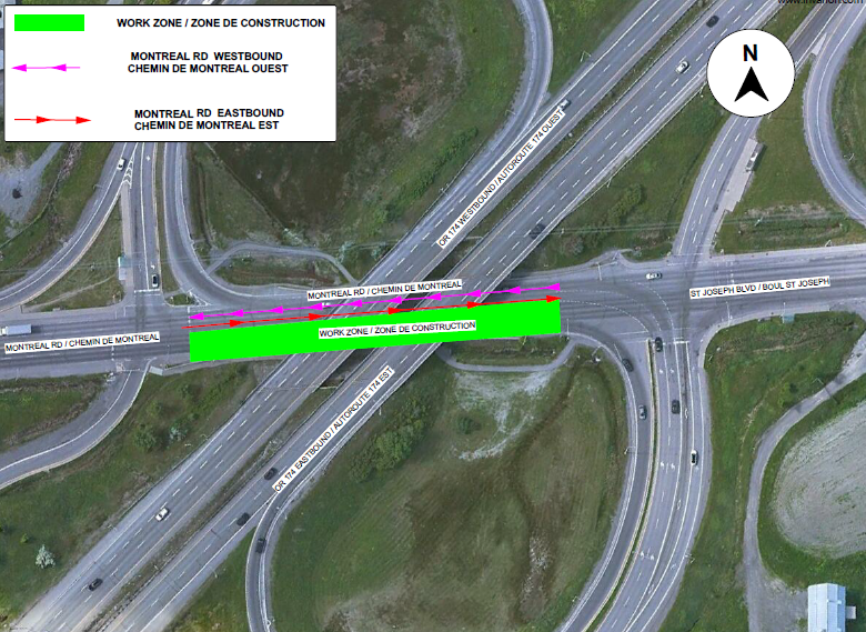 Map depicting lane closure on Montreal Road eastbound at the OR174 interchange