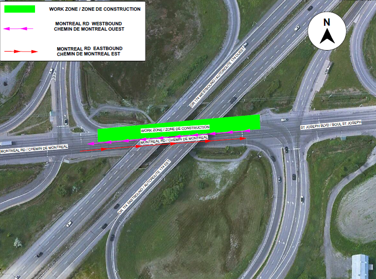 Map depicting lane closure on Montreal Road westbound at the OR174 interchange