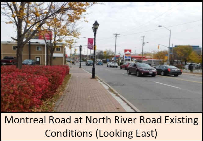 Montreal Road at North River Road existing conditions (looking east).