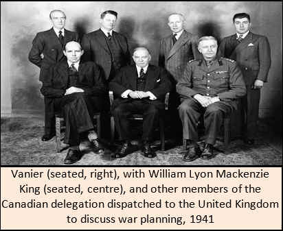 Vanier (seated, right), with William Lyon Mackenzie King (seated, centre), and other members of the Canadian delegation dispatched to the United Kingdom to discuss war planning, 1941.