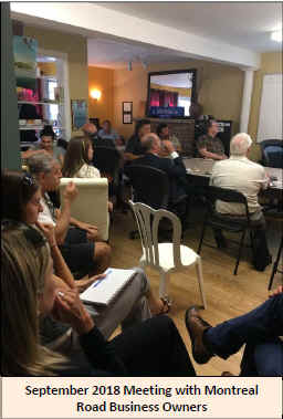 September 2018 meeting with Montreal Road business owners.