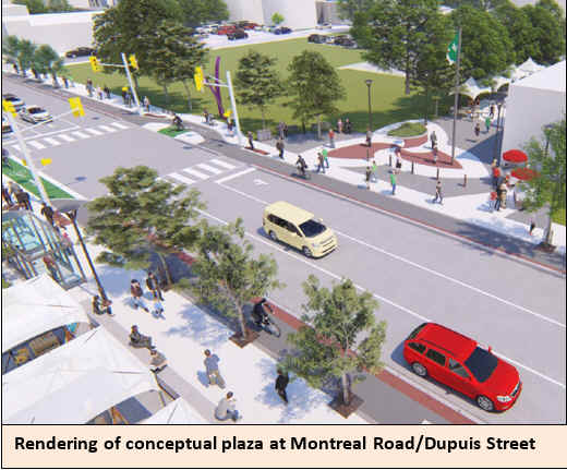 Rendering of conceptual plaza at Montreal Road/Dupuis Street.