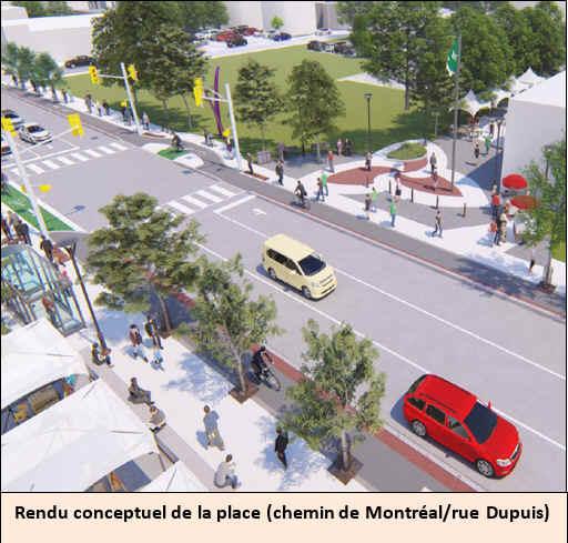 Rendu conceptuel de la place (chemin de Montréal/rue Dupuis).