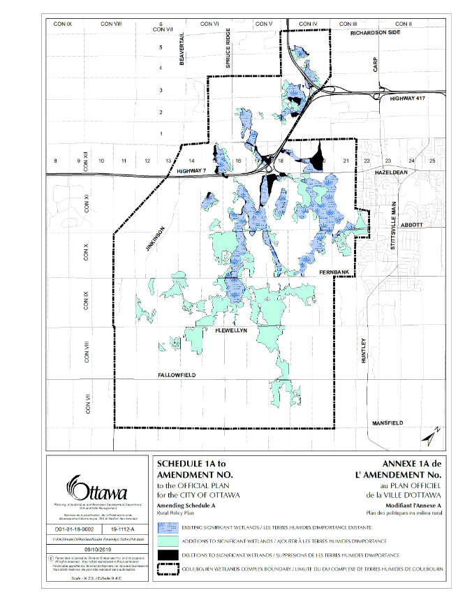 A map showing boundary changes to the provincially-significant Goulbourn Wetland Complex, which will form the basis of an Official Plan Amendment and Zoning By-law Amendment.