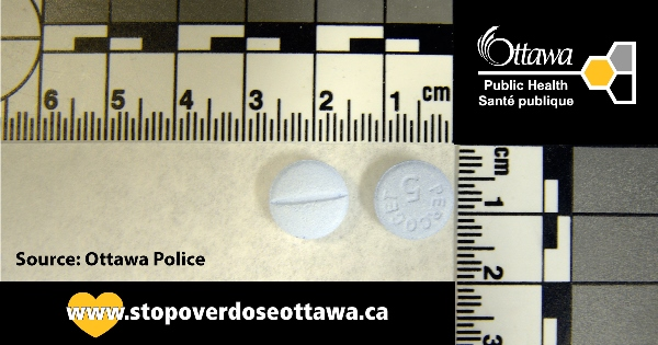 Examples of counterfeit pills found in Ottawa.