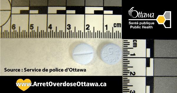 Exemples de comprimés contrefaits trouvées à Ottawa.