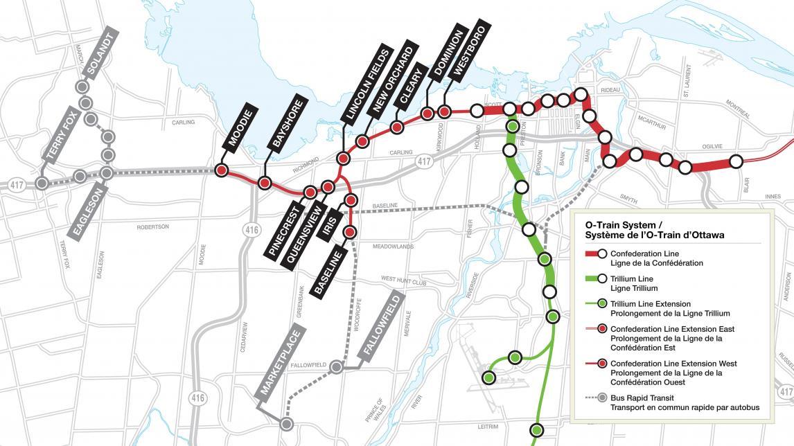 Carte illustrant le prolongement de l'étape 2 de la ligne Confederation ouest