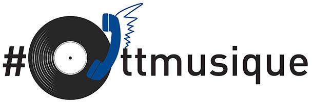 Image d'un tourne-disque avec un combiné téléphonique. Le texte lit « ottmusique » avec un symbole de hashtag.