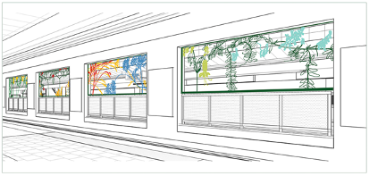 Rendering of public art at Parliament Station
