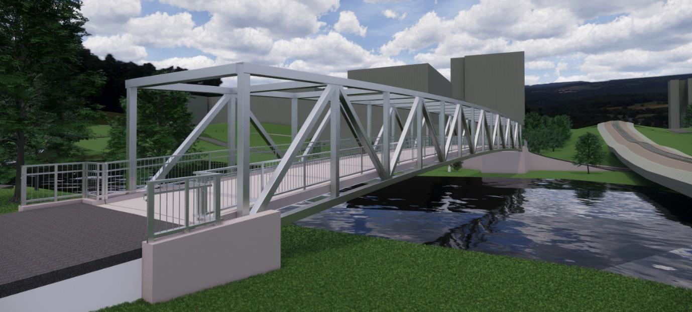 This image is a representation of the Rideau River pedestrian bridge.